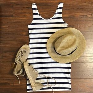 H&M Navy and white striped bodycon tank dress